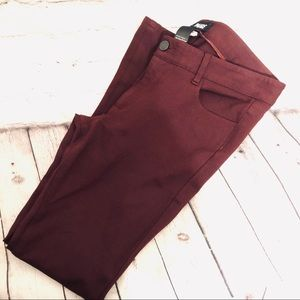 PAIGE VERDUGO ANKLE PONTE PANT IN BURGUNDY SZ 30